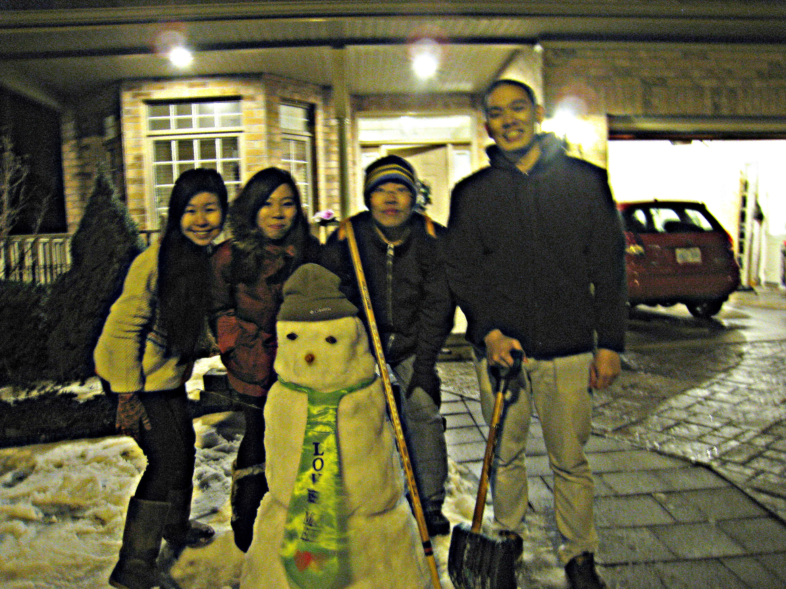 First Snowman built by Winter 2013 NTU Students